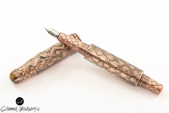 Handmade Schimmel Fountain Pen - Amazing Copper Steampunk Dragon metal scale paired with Antique Copper - Comes in gift box