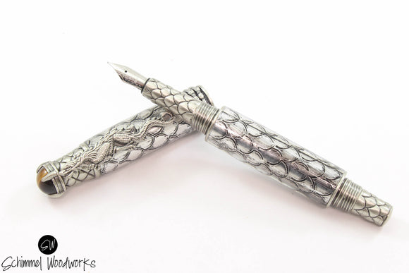 Handmade Schimmel Fountain Pen -  Steampunk Dragon metal scale paired with Antique Pewter - Comes in gift box
