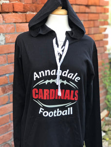 Cardinal Football Lace Hooded Pullover