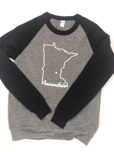 Annandale MN Raglan Sweatshirt Black and Grey
