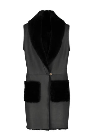 Leather Shearling Long Vest