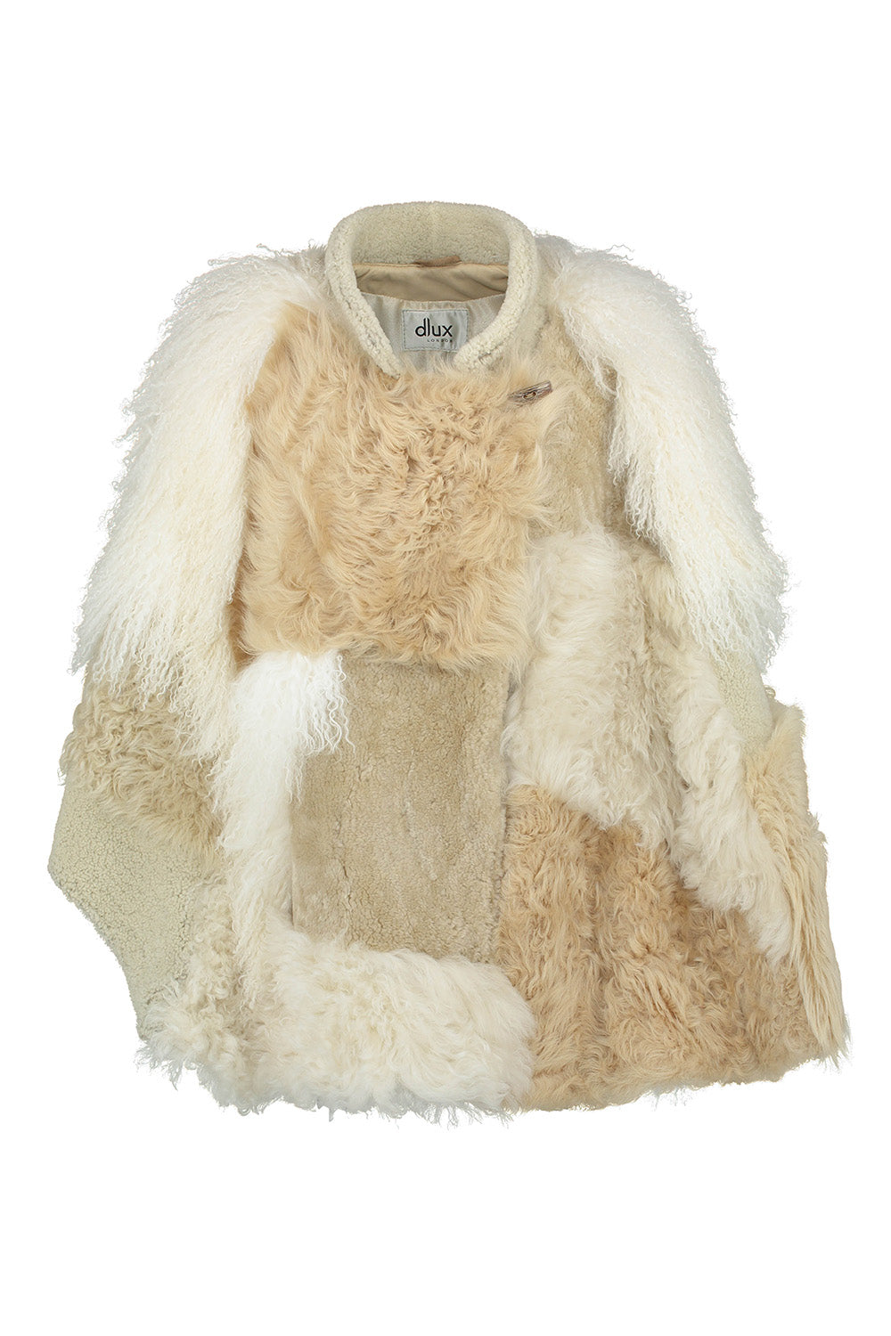 Natural Shearling Patchwork Cape