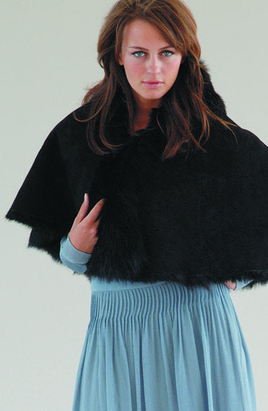 Sheepskin Cape Rolled Collar