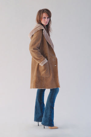 Hooded Merino Shearling Car-Coat