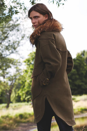 Wool Parka Rabbit Lined With Fur Trim Collar