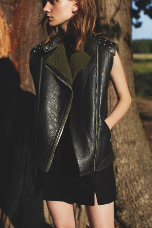 Leather Shearling Biker Vest