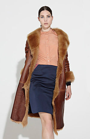 Toffee Nappa/Shearling 3/4 Length Coat