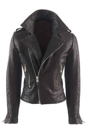 Crinkle-Effect Leather Biker Jacket