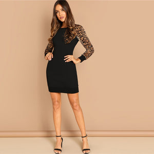 Leopard Raglan Sleeve Sequin Dress