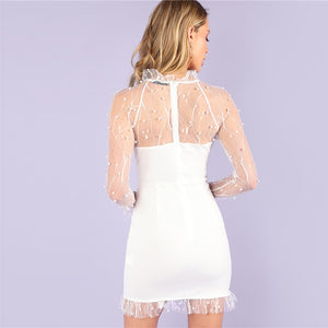 Pearl Beading Vine Mesh Ruffle White Dress