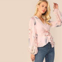 Load image into Gallery viewer, Floral Chiffon Lantern Sleeve Blouse