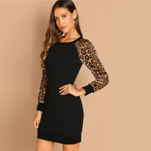 Load image into Gallery viewer, Leopard Raglan Sleeve Sequin Dress