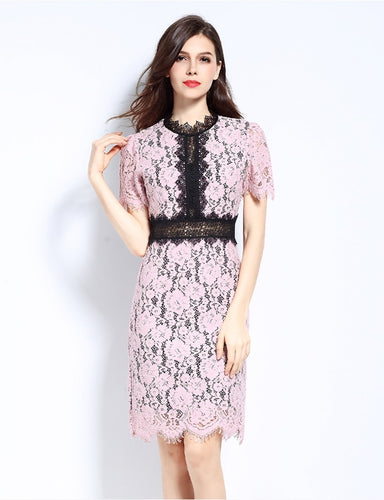 Pink Asymmetrical Lace Dress