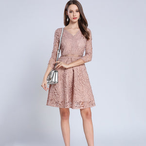 PinkBeige V-Neck Hollow Out Lace Dress