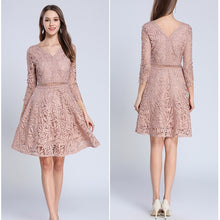 Load image into Gallery viewer, PinkBeige V-Neck Hollow Out Lace Dress