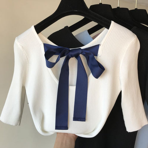 Bow Knot Low-cut Cotton Tops - ONE SIZE