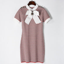 Load image into Gallery viewer, Plaid O neck Bow Button Mini Dress - ONE SIZE
