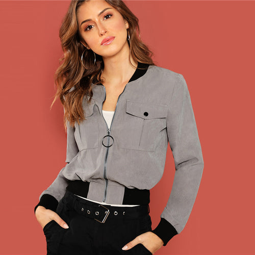 Grey Zip Up Flap Pocket Bomber Jacket