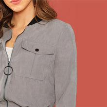 Load image into Gallery viewer, Grey Zip Up Flap Pocket Bomber Jacket