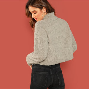 Grey Preppy Solid Mock-Neck Teddy Pullover