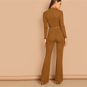 Brown Mock-Neck Crop Fitted Flare Hem Tee Frill Plain Pants Set
