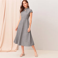 Load image into Gallery viewer, Grey Cut-out Twist Front Flare Long Dress