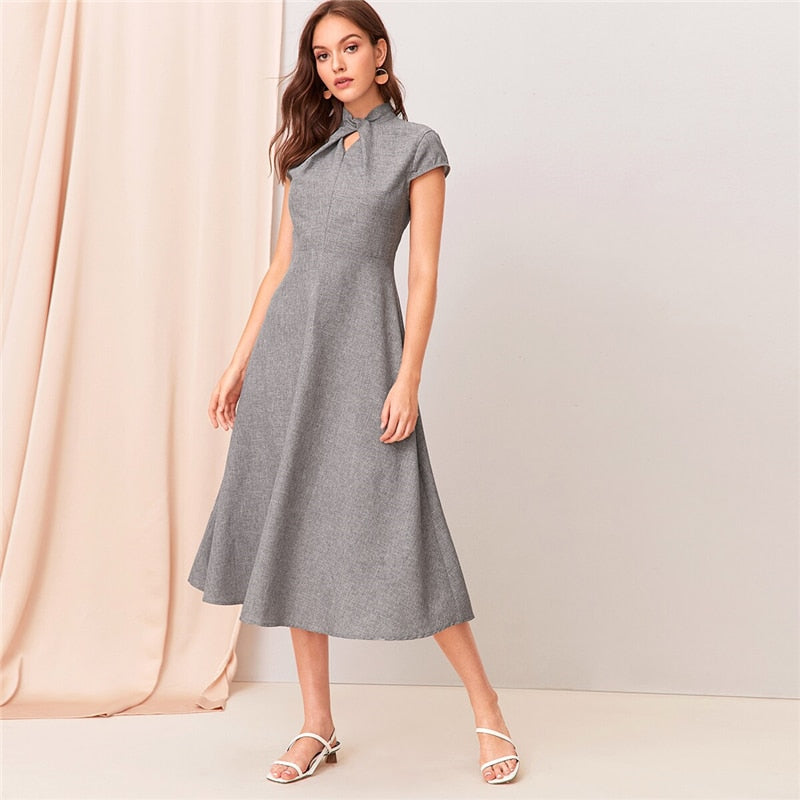 Grey Cut-out Twist Front Flare Long Dress