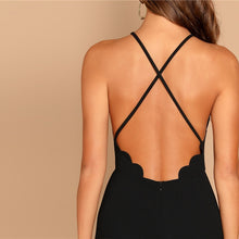 Load image into Gallery viewer, Black Scallop Trim Halter Dress
