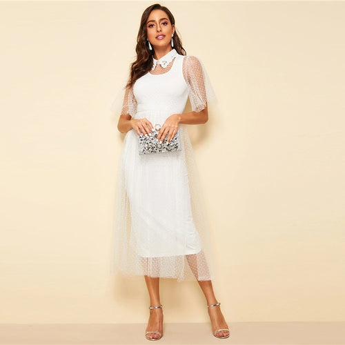 Embroidered Collar Mesh Overlay Dress