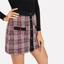 Load image into Gallery viewer, Trim Button Up  Colorblock Tweed Skirt