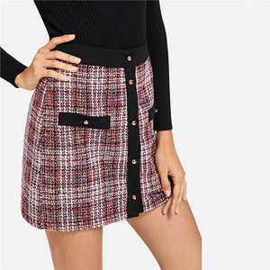 Trim Button Up  Colorblock Tweed Skirt