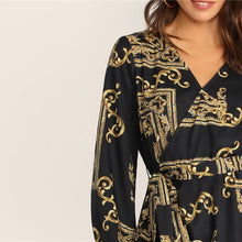 Load image into Gallery viewer, Lantern Ruffle Hem Belted Blouse