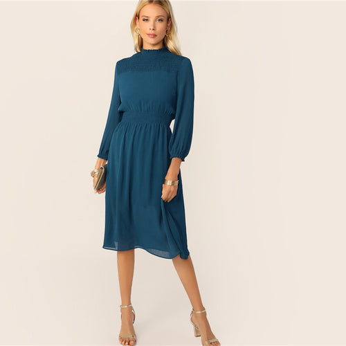 Blue Frill Neck Shirred Yoke Midi Dress