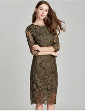 Load image into Gallery viewer, Army Green Embroidery Bodycon Lace Dress