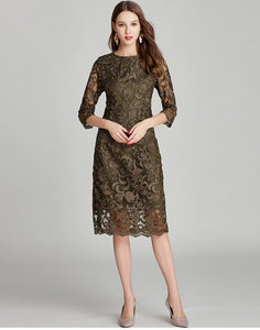 Army Green Embroidery Bodycon Lace Dress