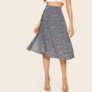 Floral Button Side Split Midi Skirt