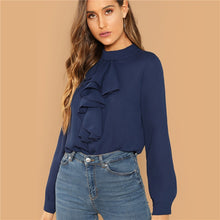 Load image into Gallery viewer, Navy Keyhole Back Ruffle Trim Blouse