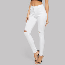 Load image into Gallery viewer, White Ripped Solid Denim Pants