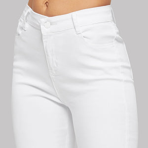 White Ripped Solid Denim Pants