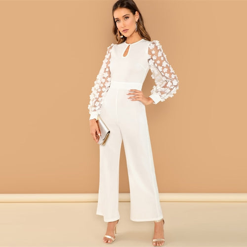 Applique Mesh Sleeve Jumpsuit
