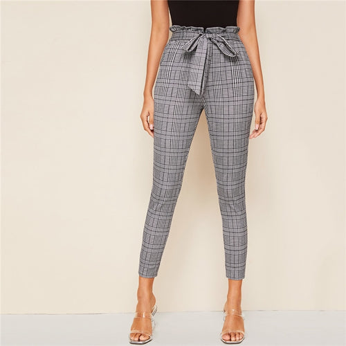 Grey Plaid Belted Skinny Trousers