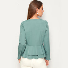 Load image into Gallery viewer, V Ruffle Hem Blouse