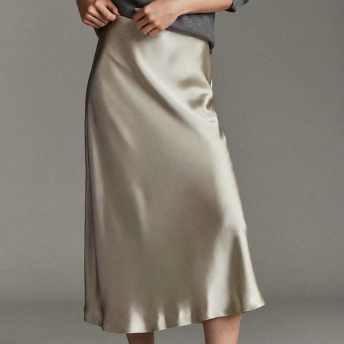 Mid-calf long Satin Pencil Skirt