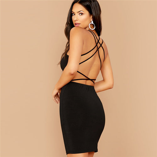 Strappy Backless Bodycon Mini Dress