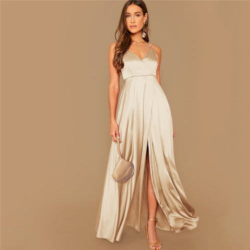 Spaghetti Strap Satin Maxi Dress
