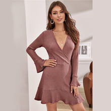 Load image into Gallery viewer, Pink Waffle Knit Flounce Sleeve Ruffle Dress