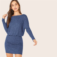 Load image into Gallery viewer, Batwing Sleeve Rib-knit Mini Dress