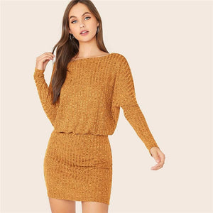 Batwing Sleeve Rib-knit Mini Dress
