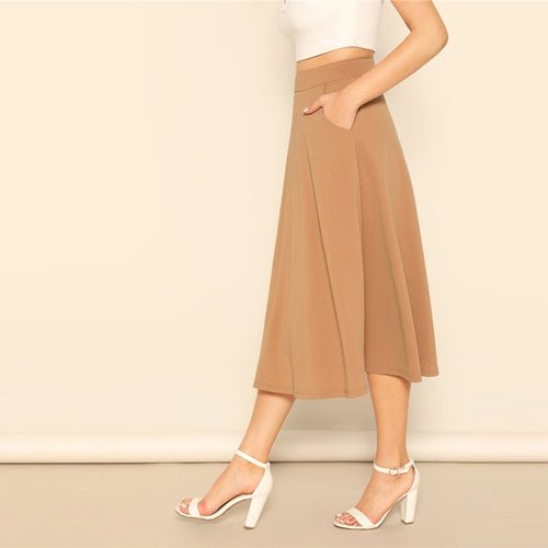 Camel Pocket  Aline Midi Skirt