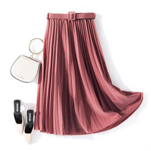 Load image into Gallery viewer, Belted B pleated midi skirt
